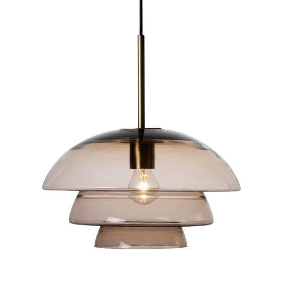 Arkivlampe 4006 large fra Hadeland Glassverk i kakao med messing oppheng