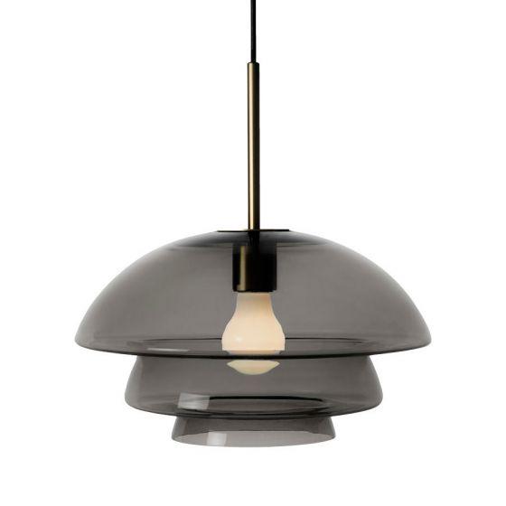 Arkivlampe 4006 large fra Hadeland Glassverk i røkgrå med messing oppheng