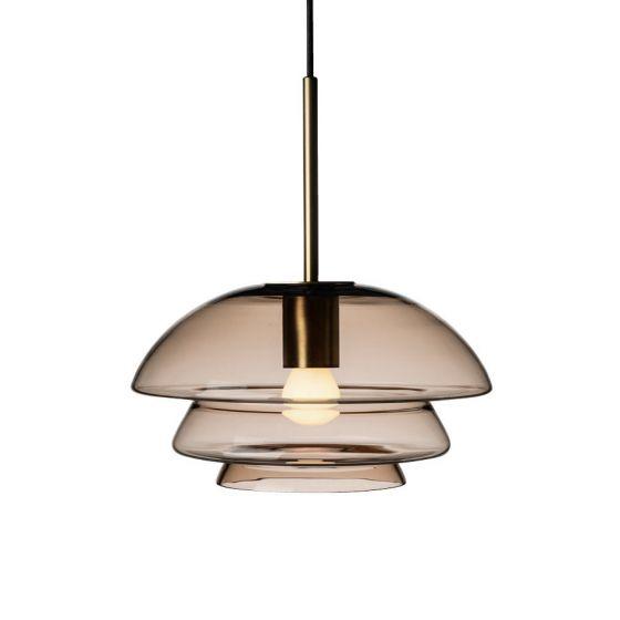 Arkivlampe 4006 small fra Hadeland Glassverk i kakao med messing oppheng