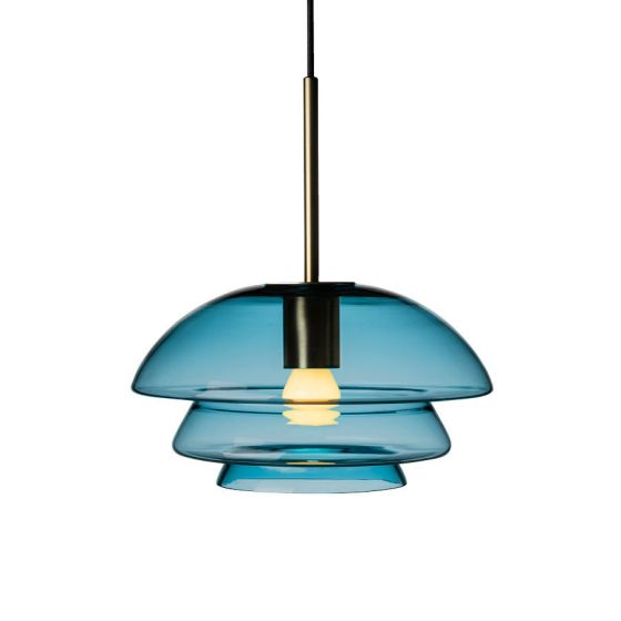 Arkivlampe 4006 small fra Hadeland Glassverk i stålblå med messing oppheng