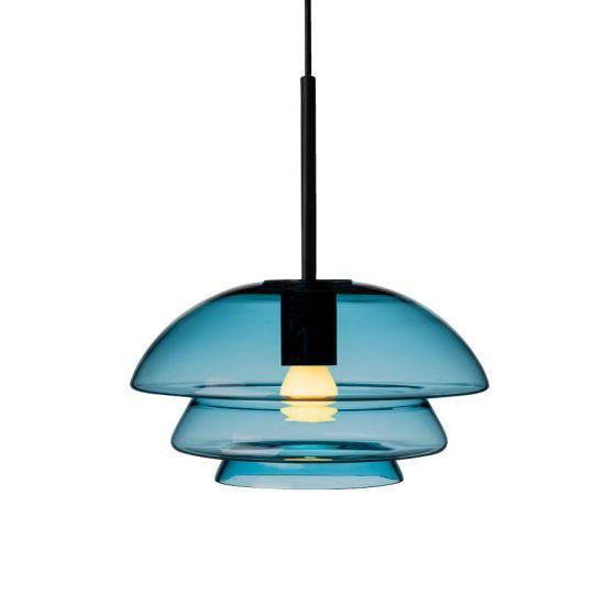 Arkivlampe 4006 small fra Hadeland Glassverk i stålblå med sort oppheng