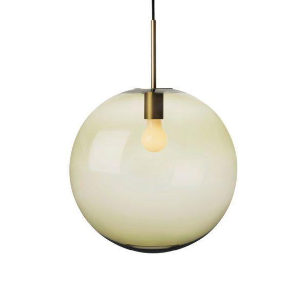 Arkivlampe 4014 400mm oliven med messing oppheng fra Hadeland Glassverk