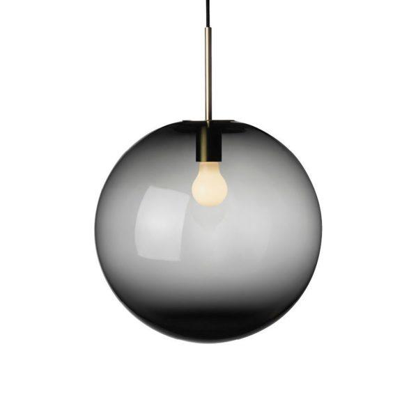Arkivlampe 4014 400mm røkgrå med messing oppheng fra Hadeland Glassverk