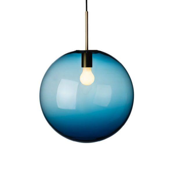 Arkivlampe 4014 400mm stålblå med messing oppheng fra Hadeland Glassverk