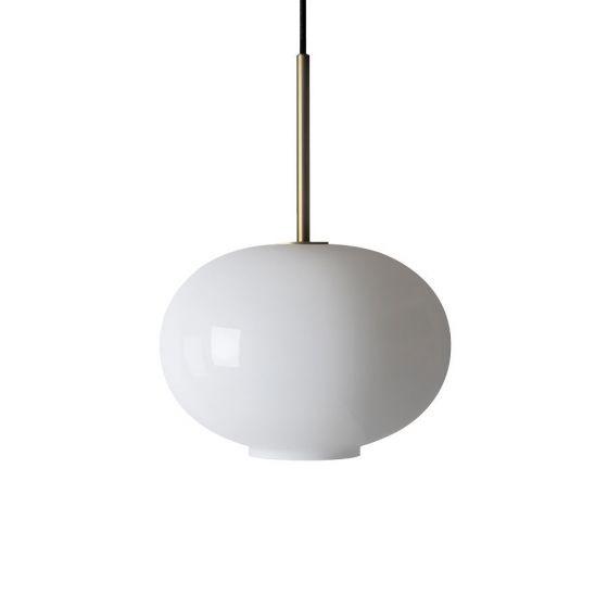 Arkivlampe 4169 small i hvit opal farge og messing oppheng