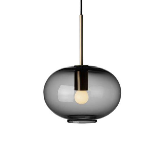 Arkivlampe 4169 small i røykgrå farge og messing oppheng