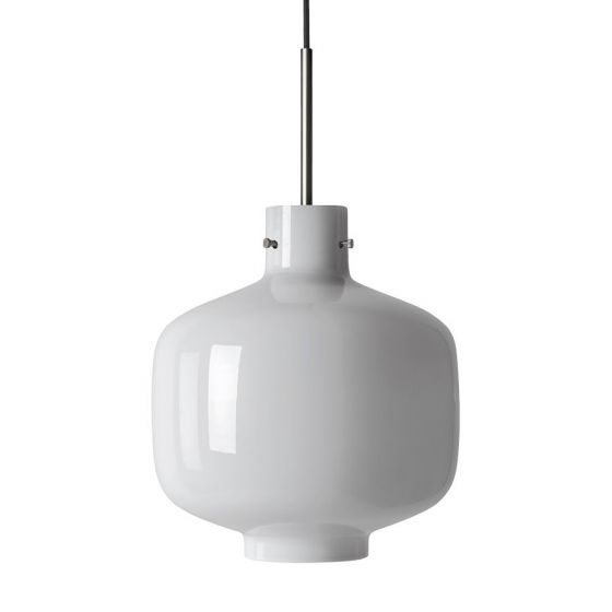 Arkivlampe 4180 fra Hadeland Glassverk i hvit opal med stål oppheng
