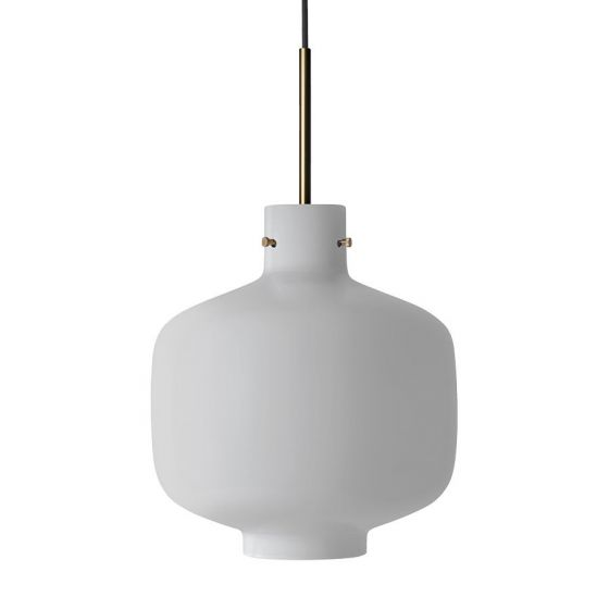 Arkivlampe 4180 fra Hadeland Glassverk i hvit matt med messing oppheng