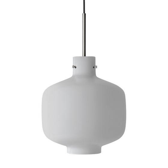 Arkivlampe 4180 fra Hadeland Glassverk i hvit matt med stål oppheng