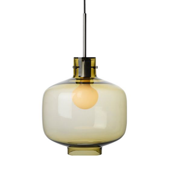 Arkivlampe 4180 fra Hadeland Glassverk i oliven med stål oppheng
