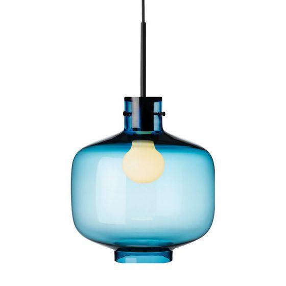 Arkivlampe 4180 fra Hadeland Glassverk i stålblå med sort oppheng