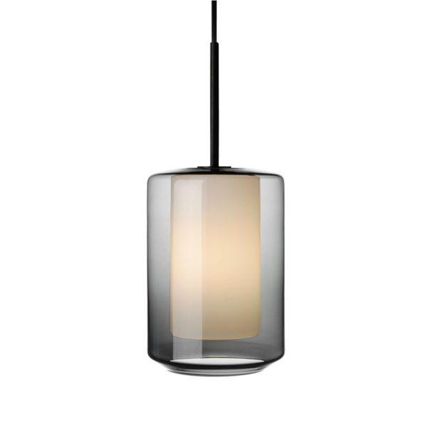 Arkivlampe 4245 røkgrå og hvit med sort oppheng fra Hadeland Glassverk