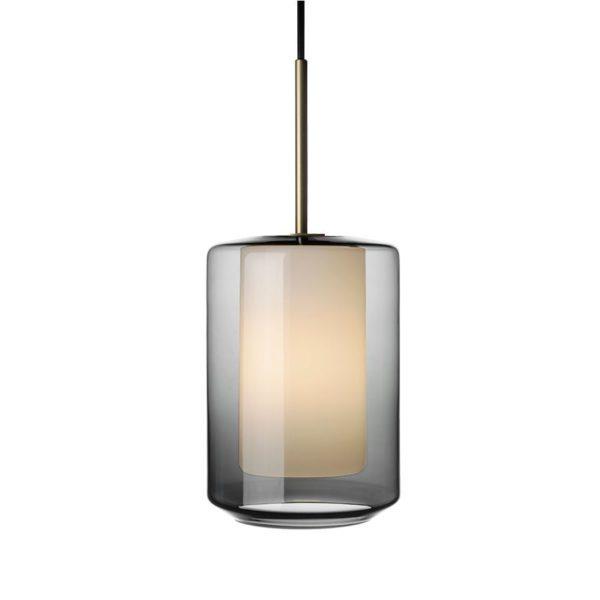 Arkivlampe 4245 røkgrå og hvit med messing oppheng fra Hadeland Glassverk