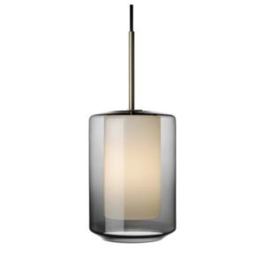 Arkivlampe 4245 i røkgrå og hvit med messing oppheng