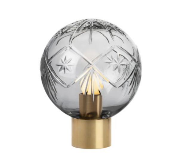 Bordlampe Finn røkgrå med messing fot