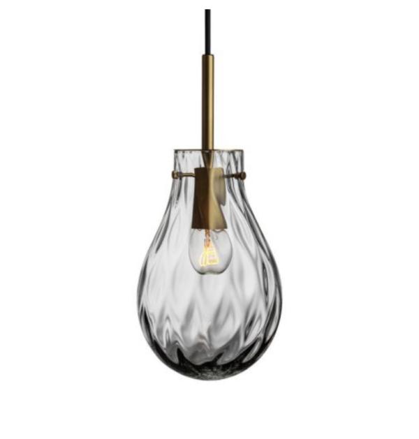 Dråpe lampe med mønster Dobbeltoptikk størrelse liten farge lys røkgrå med messing oppheng fra Hadeland Glassverk