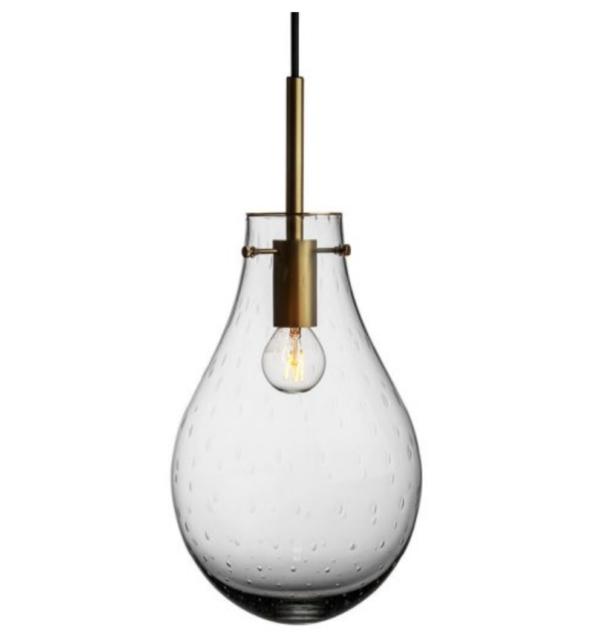 Dråpe lampe med mønster Dugg størrelse stor farge lys røkgrå med messing oppheng fra Hadeland Glassverk