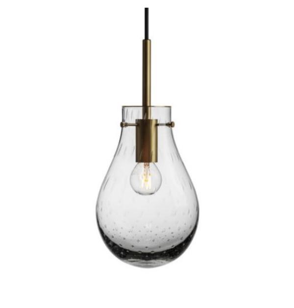 Dråpe lampe med mønster Dugg størrelse liten farge lys røkgrå med messing oppheng fra Hadeland Glassverk