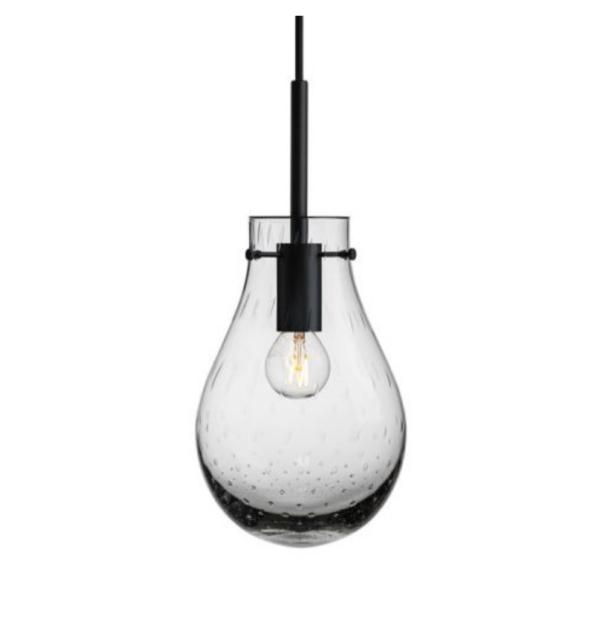 Dugg pendel lys røkgrå med sort oppheng liten