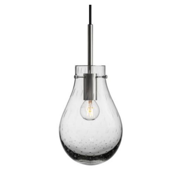 Dugg pendel lys røkgrå med stål oppheng liten