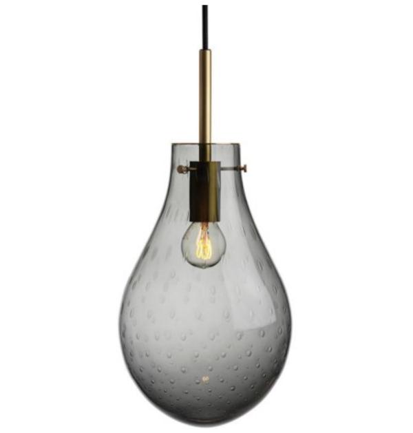 Dråpe lampe med mønster Dugg størrelse stor med messing oppheng fra Hadeland Glassverk
