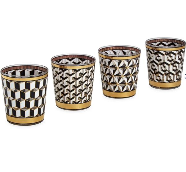 Versaille glassware i sort, hvitt og gull fra Jonathan Adler produktbilde