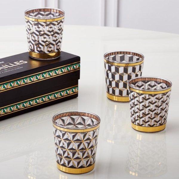 Versaille glassware i sort, hvitt og gull fra Jonathan Adler