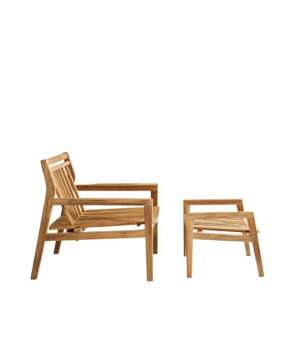 M7 Sammen Footstoll fra FDB Møbler i teak sammen med M6 lounge chair