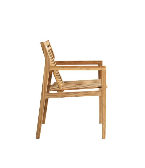M1 Sammen Garden Chair. Hagestol i teak fra FDB Møbler sett fra siden