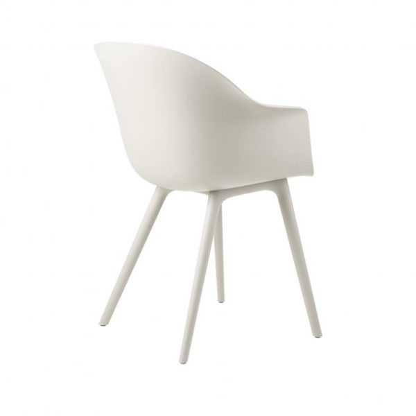Gubi Bat Outdoor Dining Chair in White Alabaster back
