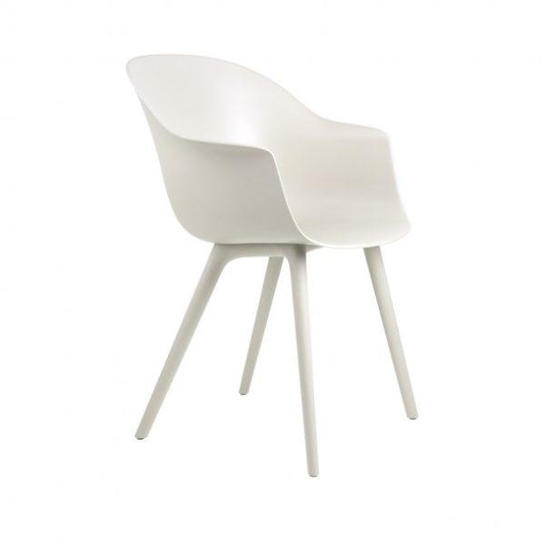 Gubi Bat Outdoor Dining Chair in White Alabaster front