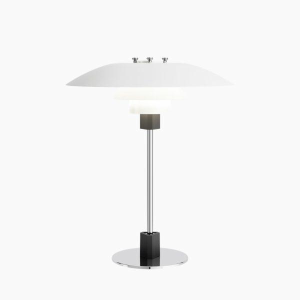 Produktbilde av Louis Poulsen PH 4/3 bordlampe i hvit pulverlakkert, høyglans krombelagt