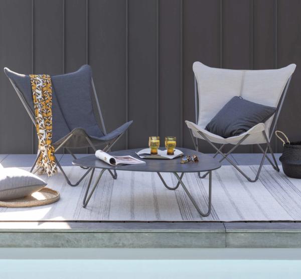 Cocoon sofabord fra Lafuma i stål og grå laminat i miljø