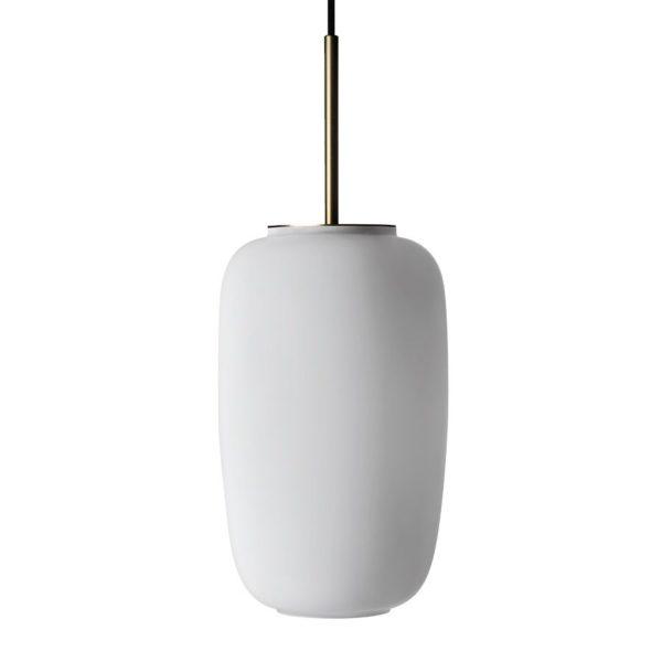 Arkivlampe 4178 fra Hadeland Glassverk i hvit matt farge med messing oppheng