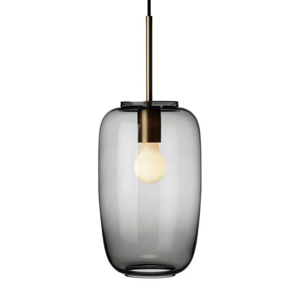 Arkivlampe 4178 fra Hadeland Glassverk i røkgrå farge med messing oppheng