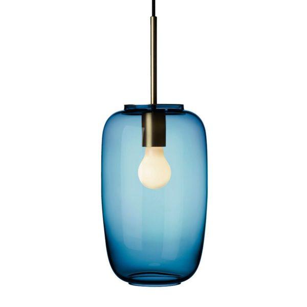Arkivlampe 4178 fra Hadeland Glassverk i stålblå farge med messing oppheng