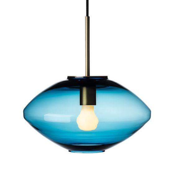 Arkivlampe 4280 fra Hadeland Glassverk i stålblå farge med messing oppheng