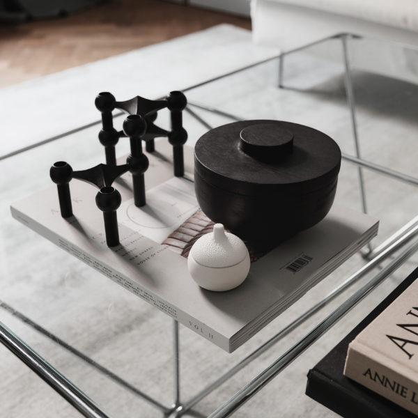 Stoff Nagel lysholder i sort