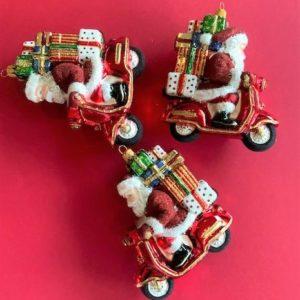 Julenissen på Scooter fra Vebo Ornaments